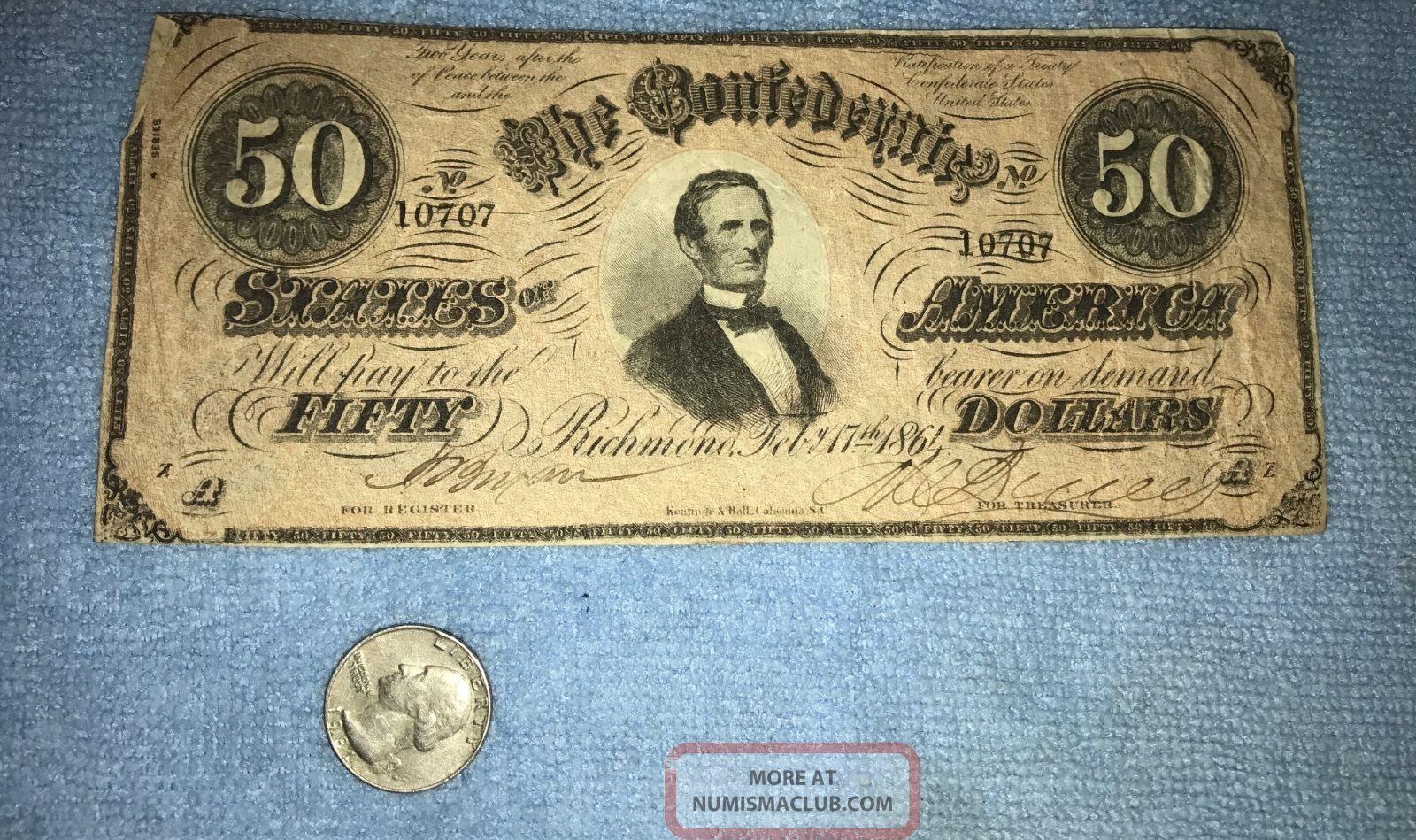 1864 $50 Confederate States Of America Richmond Virginia Collectors Estate Paper Money: US photo