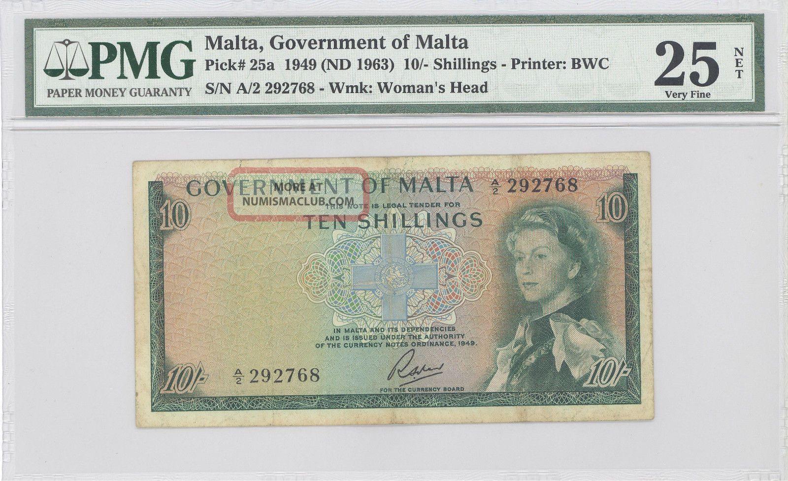 1949 Malta,  Government Of Malta,  10 Shillings,  Pmg 25 Net Very Fine P : 25a Europe photo