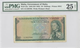 1949 Malta,  Government Of Malta,  10 Shillings,  Pmg 25 Net Very Fine P : 25a photo