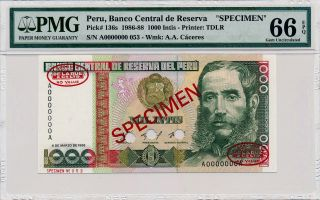 Banco Central De Reserva Peru 1000 Intis 1986 Spec,  0000000 Pmg 66epq photo