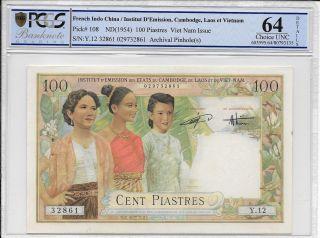 French Indo China / Institut D/emission,  Vietnam - 100 Piastres,  1954.  Pcgs 64d. photo