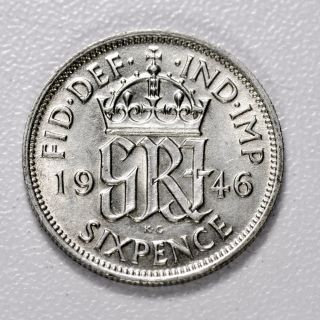 Gb George Vi Silver (. 500) Sixpence - 1946,  Top - Grade Ms / Unc, photo