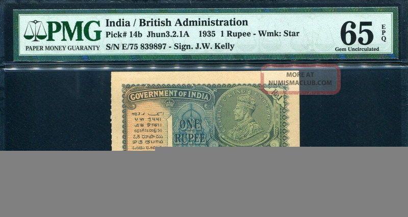 India 1935,  1 Rupee,  P14b,  Pmg 65 Epq Gem Unc Asia photo