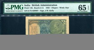 India 1935,  1 Rupee,  P14b,  Pmg 65 Epq Gem Unc photo