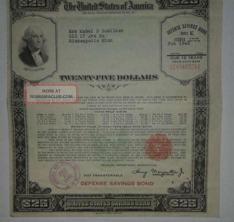Us $25 Dollar E Series War Defence Savings Bond Stocks & Bonds, Scripophily photo