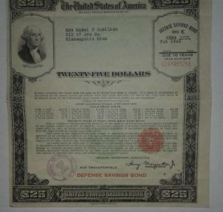 Us $25 Dollar E Series War Defence Savings Bond photo