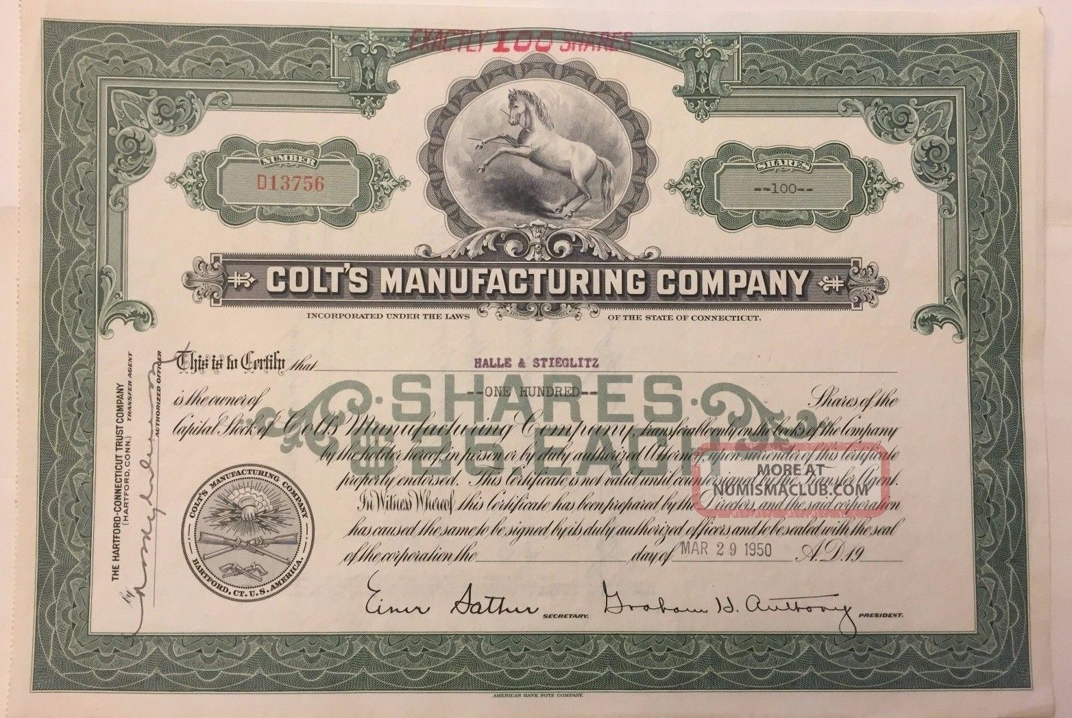 1950 Colt ' S Manufacturing Co.  Stock Certificate Historic Firearms Company Stocks & Bonds, Scripophily photo