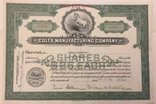 1950 Colt ' S Manufacturing Co.  Stock Certificate Historic Firearms Company photo