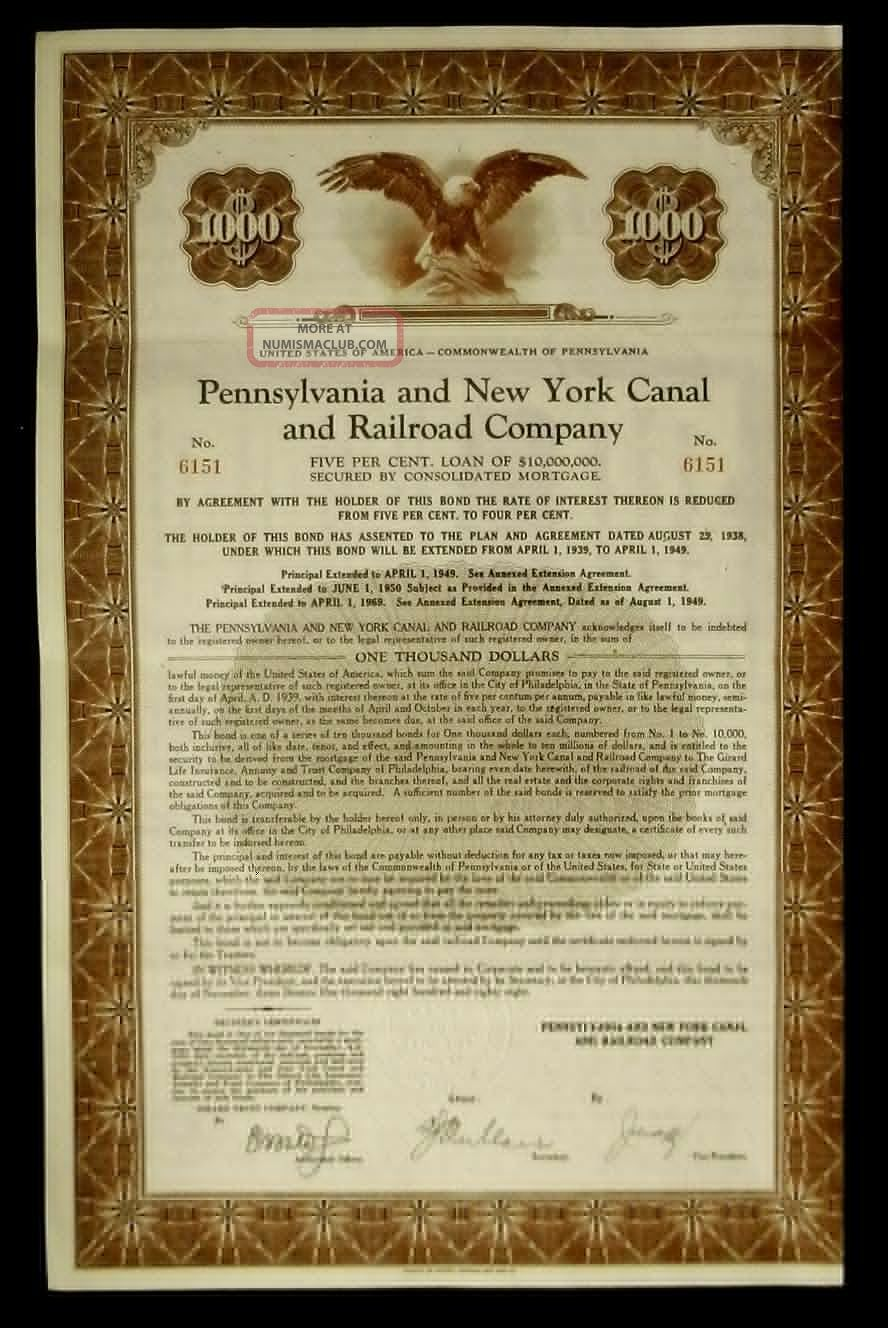 Bond Pennsylvania & Ny Canal & Rr Co 5 Loan Secured Consolidated Mortgage Transportation photo