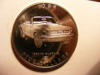 Marshall Islands 5 Dollars,  1996,  Classic Cars,  1964 1/2 Mustang,  P/l Unc photo