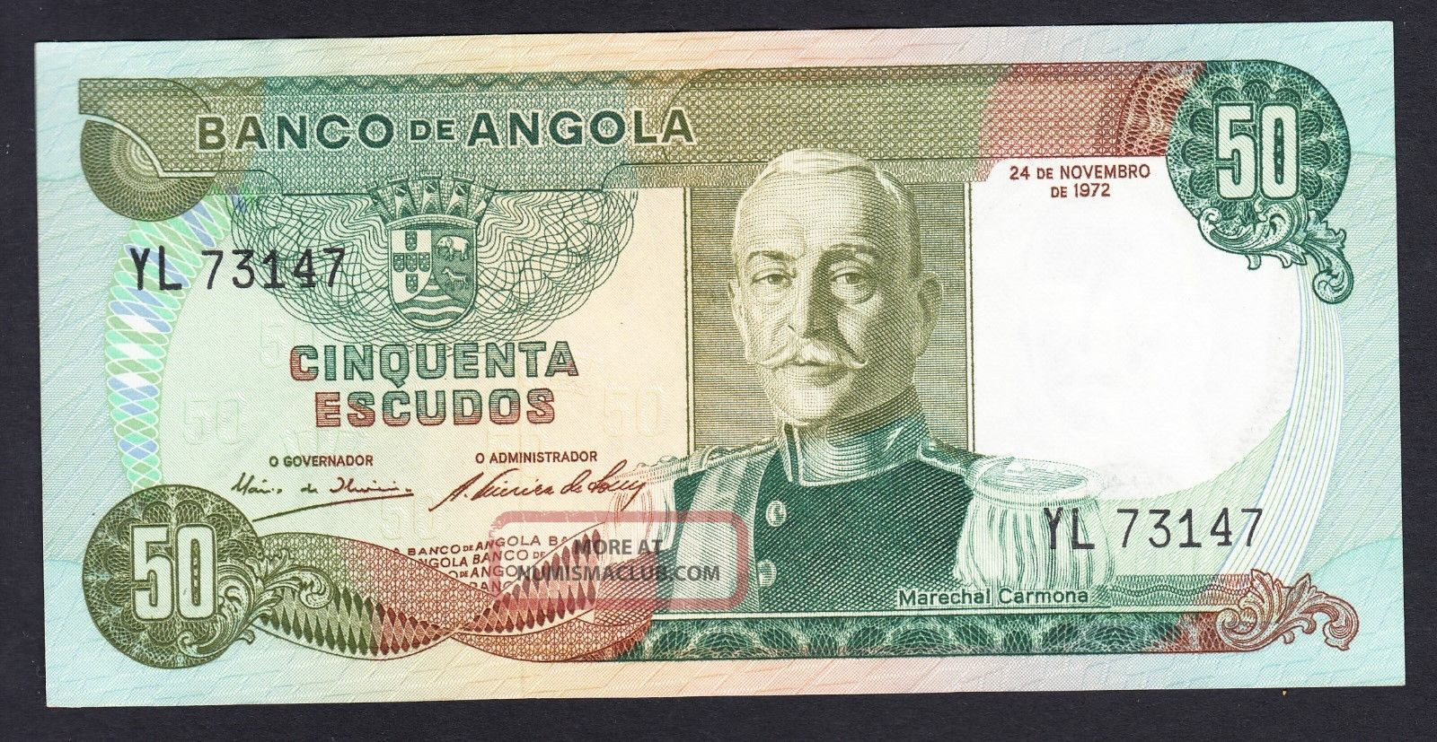Angola 50 Escudos 1972 Au P.  100,  Banknote,  Uncirculated Africa photo