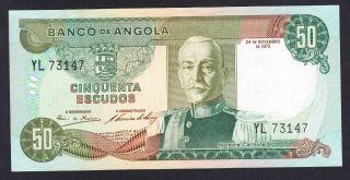 Angola 50 Escudos 1972 Au P.  100,  Banknote,  Uncirculated photo