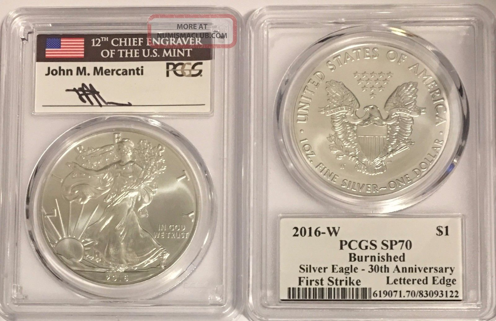 2016 W Burnished Silver Eagle Pcgs Sp70 Flag Mercanti First Strike Edge Letters Silver photo