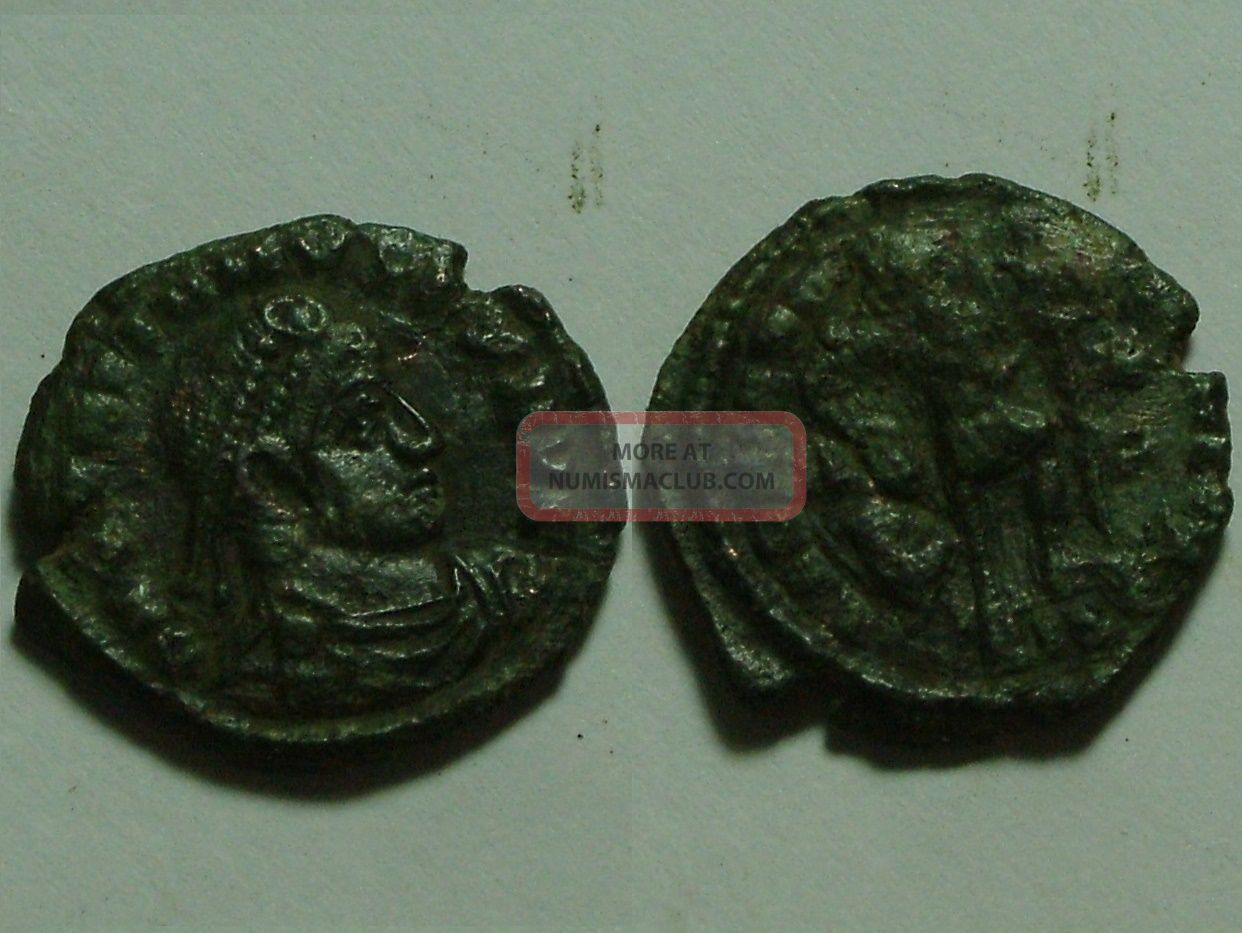 Rare Ancient Roman Coin Gratian 367 Ad Standard Spear Captive Siscia Coins: Ancient photo