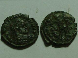 Rare Ancient Roman Coin Gratian 367 Ad Standard Spear Captive Siscia photo