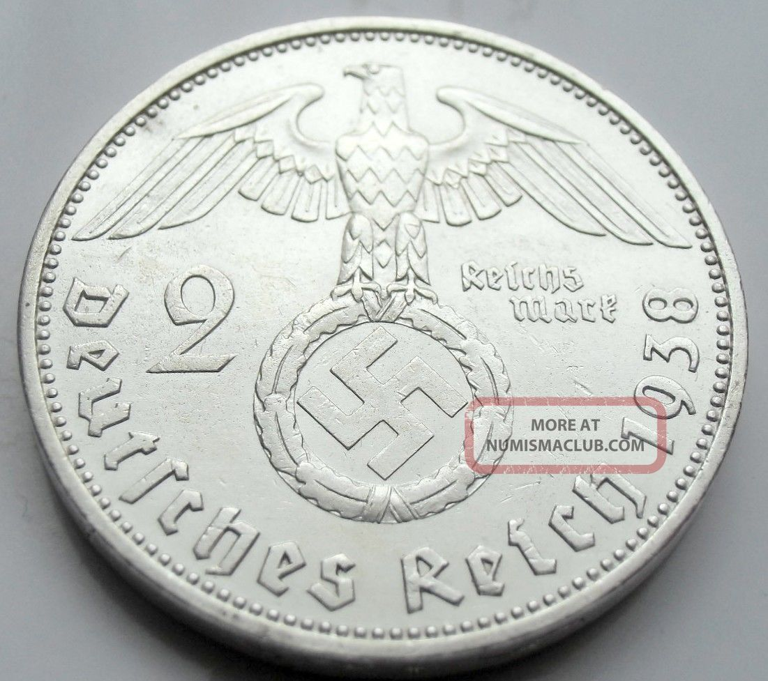 Wwii German 2 Mark Silver Coin Big Swastika - 1938 A Germany photo