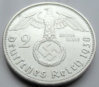 Wwii German 2 Mark Silver Coin Big Swastika - 1938 A photo