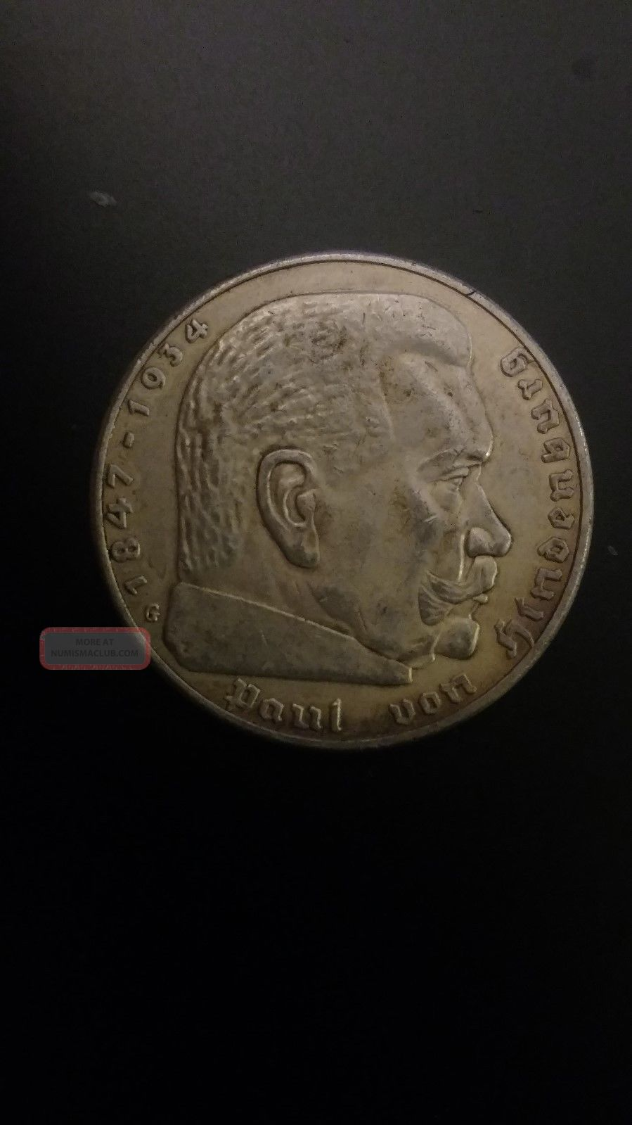 Germany,  Third Reich 5 Reichsmark,  1938 G,  Swastika - Hindenburg Issue Third Reich (1933-45) photo