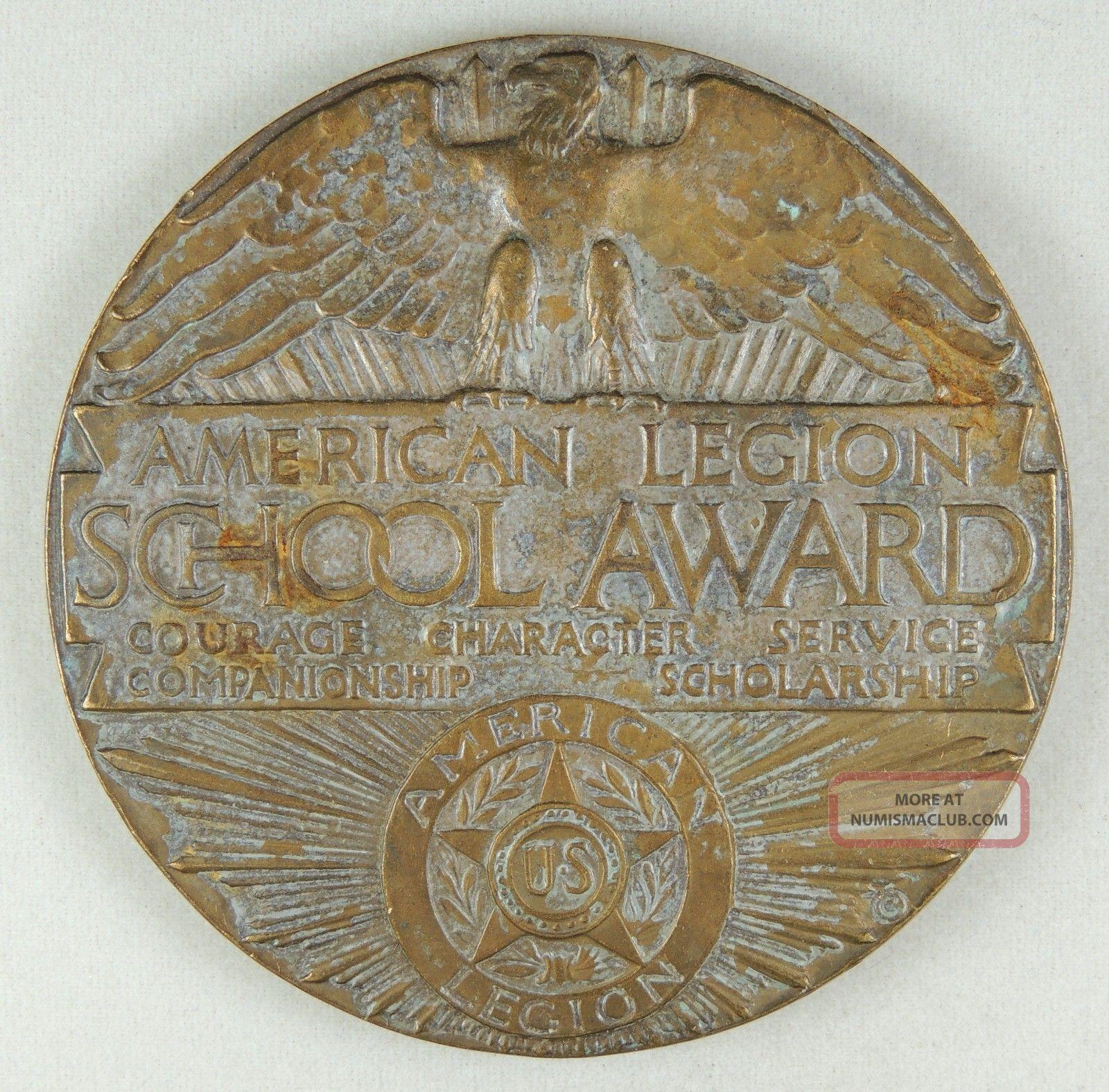 1925 American Legion School Award - Bronze Medal / Medallion - Medallic Art Co Ny Exonumia photo