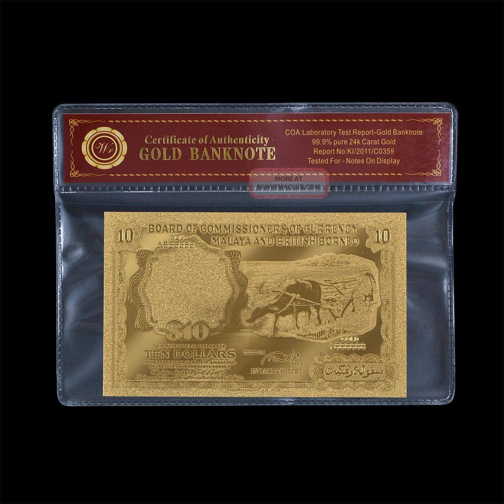 Wr Malaya & British Borneo 10 Dollars Gold Banknote Gold Buffalo Note Old Rare Asia photo
