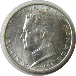 Elf Monaco 5 Francs 1960 Prince Ranier Iii Silver photo