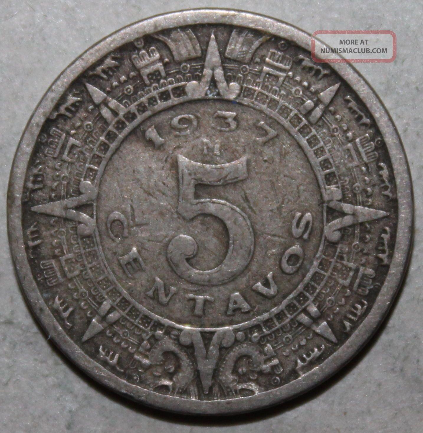 Mexican 5 Centavos Coin,  1937 M - Km 423 - Mexico - Five - Aztec Calendar Mexico photo