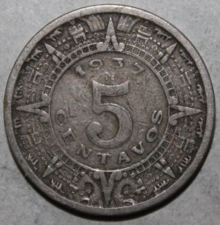 Mexican 5 Centavos Coin,  1937 M - Km 423 - Mexico - Five - Aztec Calendar photo
