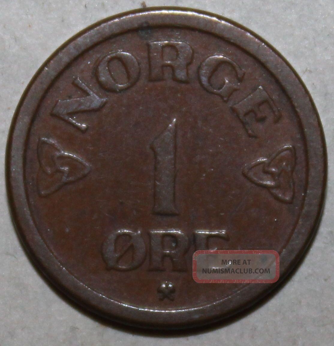 Norwegian 1 Øre Coin,  1952 - Km 398 - Haakon Vii - One Ore Norway Norge Bronze Europe photo