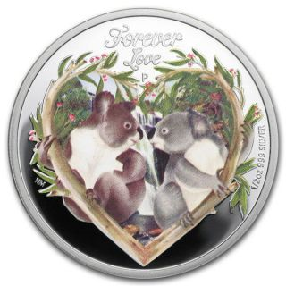 Tuvalu 2012 50 Cents Forever Love Two Koalas 1/2 Oz Proof Silver Coin photo