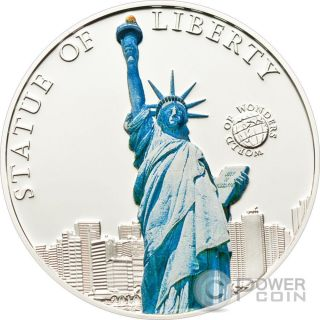 Statue Of Liberty World Of Wonders Silver Coin 5$ Palau 2010 photo