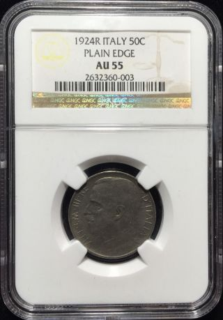1924r Italy 50 Centesimi Ngc Certified Au 55 Plain Edge photo