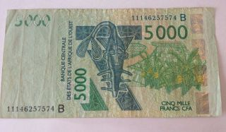 5000 Franc Banknote - Central Bank Of West Africa - Circulated - 2003 photo