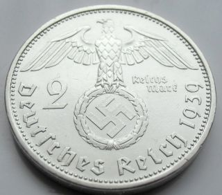 Wwii German 2 Mark Silver Coin Big Swastika - 1939 A photo