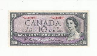 1954 Ten Dollar Canada Bank Note Jt5546925 Beattie Rasminsky Circulated photo