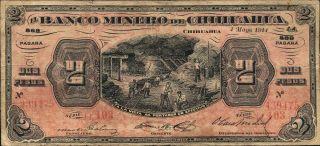 Mexico El Banco Minero 2 Pesos P - S184 F - Vf photo