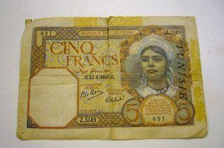 1941 Algeria 5 Cinq Francs Paper Money Banknote photo