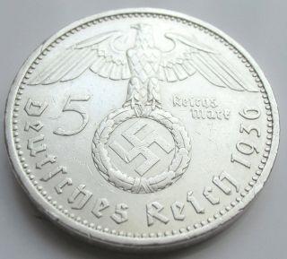 German 5 Mark - 1936 A - 90 Silver - Coin Big Swastika photo