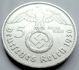 German 5 Mark - 1936 D - 90 Silver - Coin Big Swastika photo