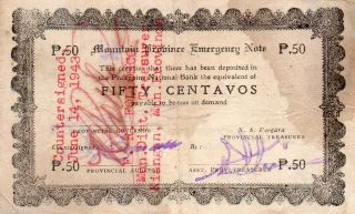 Philippines Mountain Province 50 Centavos 1942 S594a Emergency Note C/s Front photo
