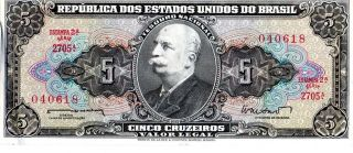 Brazil 1962 - 64 5 Cruzeiros Currency photo