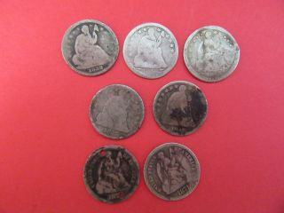 Seven Assorted Date Seated Liberty Half Dimes photo