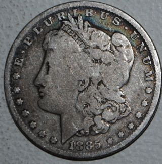 1885 P Morgan Silver Dollar $1 Coin United States. photo