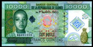 Guinea 10000 Francs 2010 Prefix Kq P 45 Commemorative Uncirculated photo
