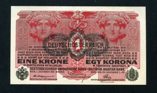 Austria 1 Krone 1919 (old Date 1916) P - 49 Unc Uncirculated Banknote photo