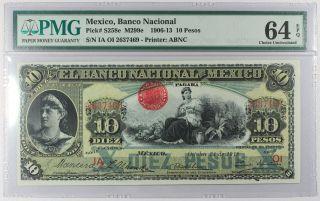 Mexico 1909 - 1913,  Banco Nacional De Mexico 10 Pesos,  S258e,  Pmg 64epq (dd579a) photo