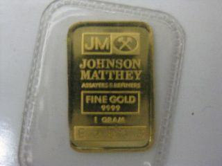 1 Gram Gold Bar Johnson Matthey.  9999 Pure Ser.  E2806 photo