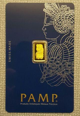 1 Gram Gold Bar - Pamp Suisse - Fortuna - 999.  9 Fine In Assay (a - 3) photo