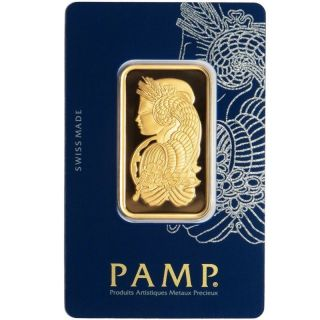 1 Oz Pamp Suisse Gold Bar.  9999 Fine (in Assay) (c100124) photo
