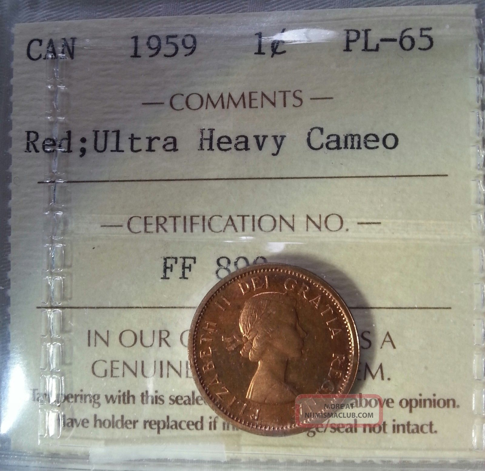 1959 Canada 1 Cent Iccs Graded Pl - 65 Red Ultra Heavy Cameo Coins: World photo