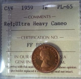 1959 Canada 1 Cent Iccs Graded Pl - 65 Red Ultra Heavy Cameo photo